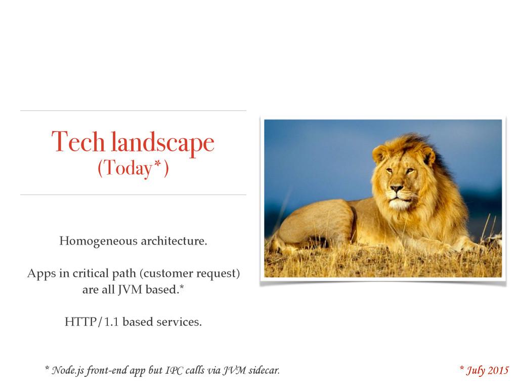 Tech landscape (Today*) Homogeneous architectur...