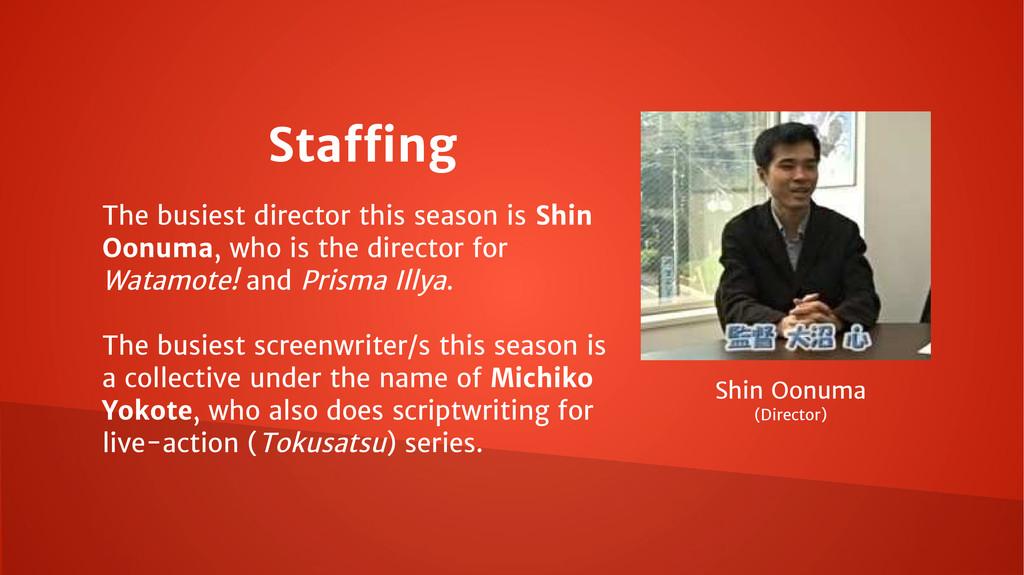 The busiest director this season is Shin Oonuma...