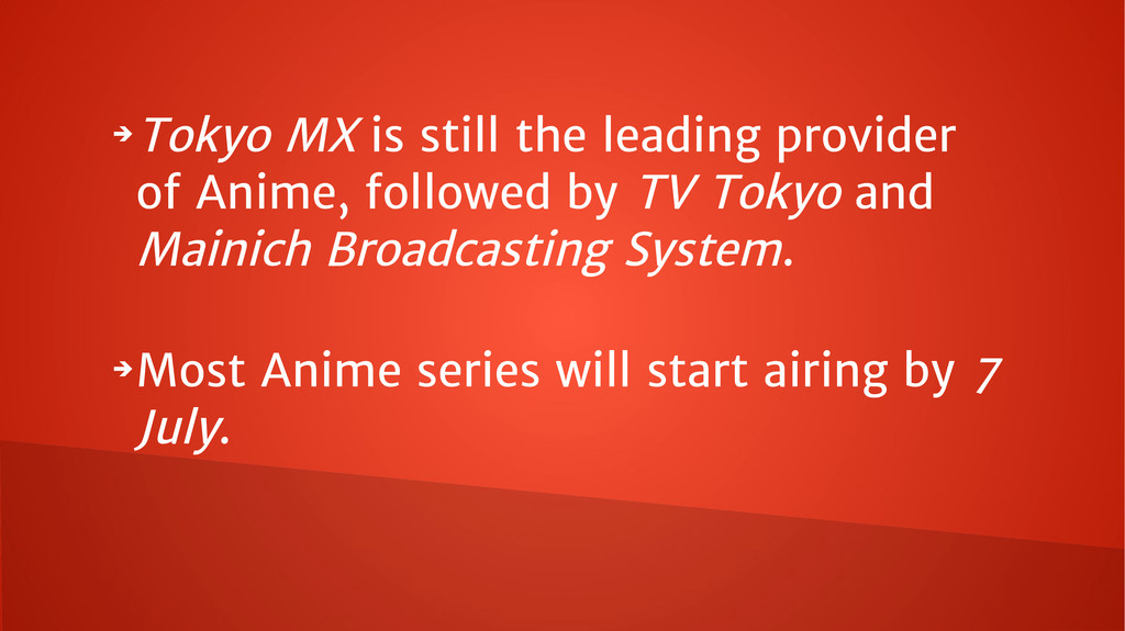 ➔ Tokyo MX is still the leading provider of Ani...