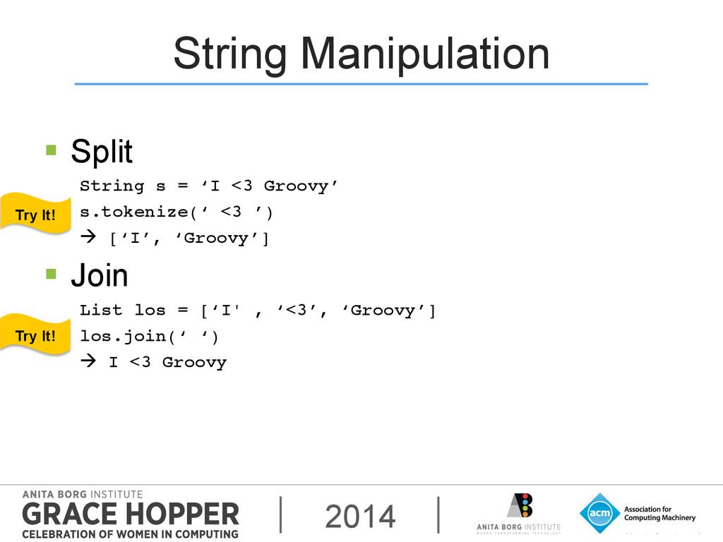 2014 String Manipulation § Split String s = '...