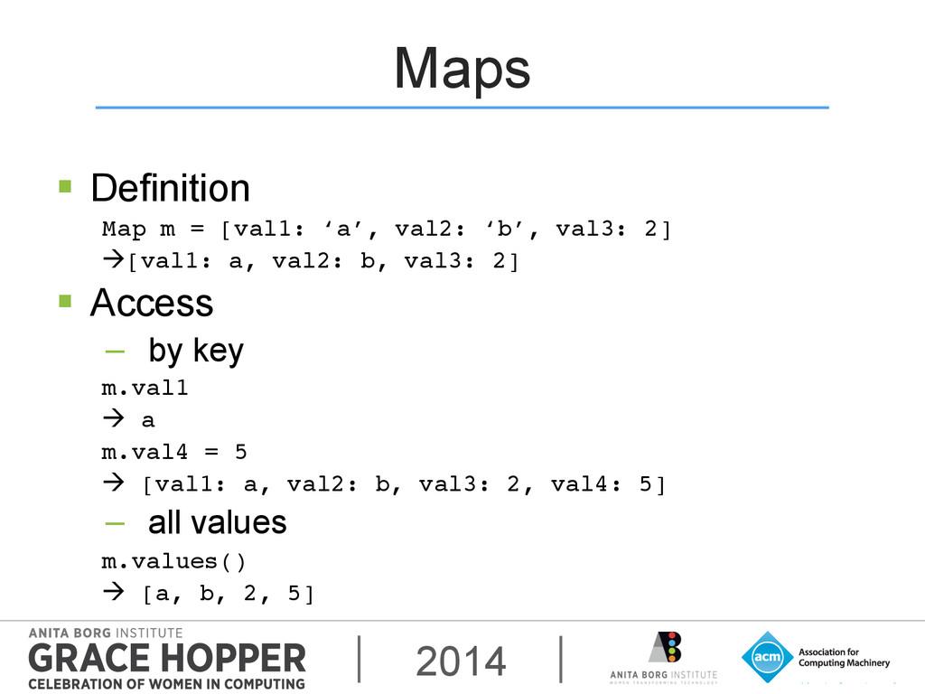 2014 Maps § Definition Map m = [val1: 'a', va...
