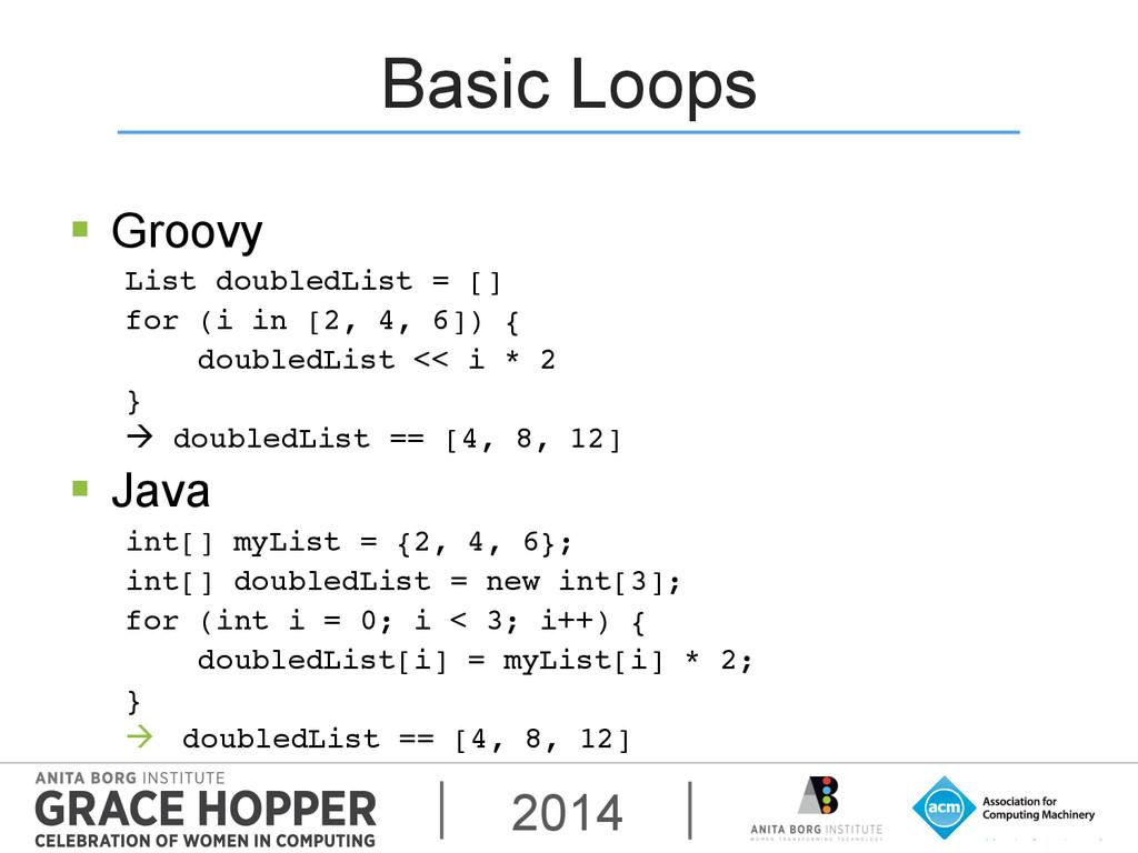 2014 Basic Loops § Groovy List doubledList = ...