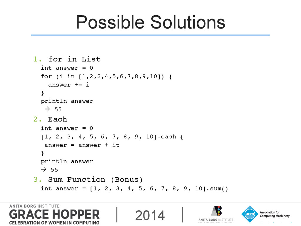 2014 Possible Solutions 1. for in List! int an...