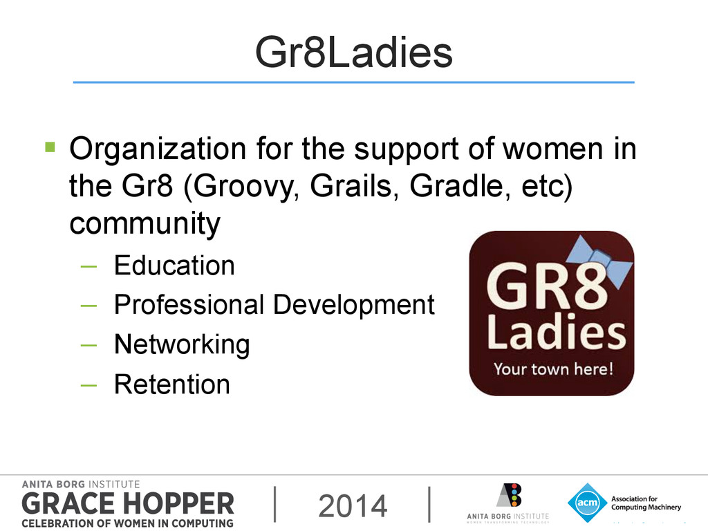 2014 Gr8Ladies § Organization for the support...