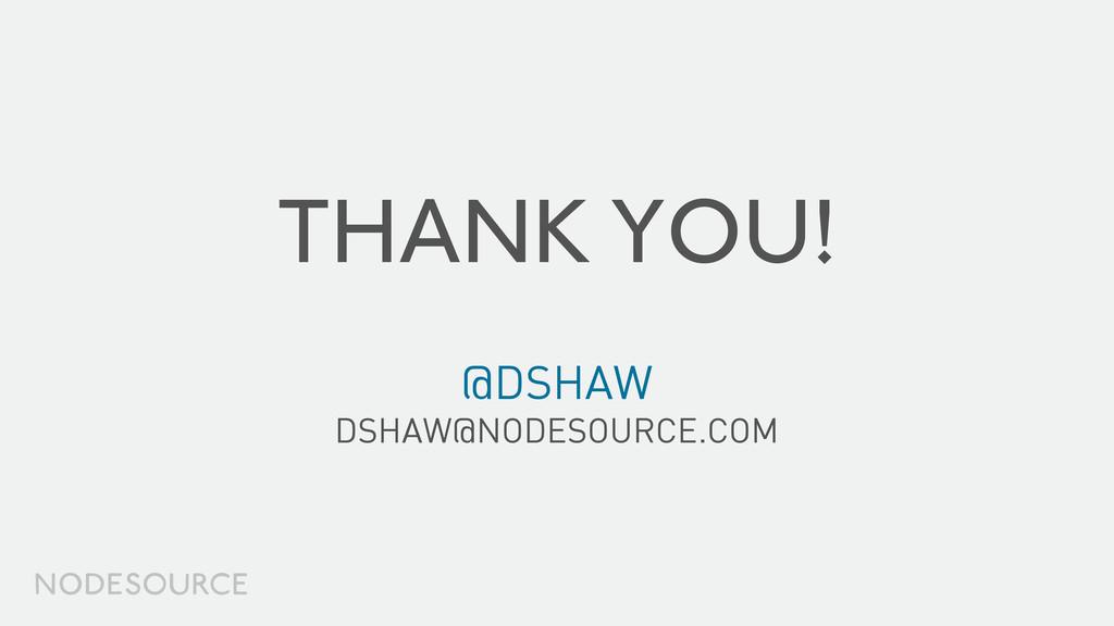 THANK YOU! @DSHAW DSHAW@NODESOURCE.COM