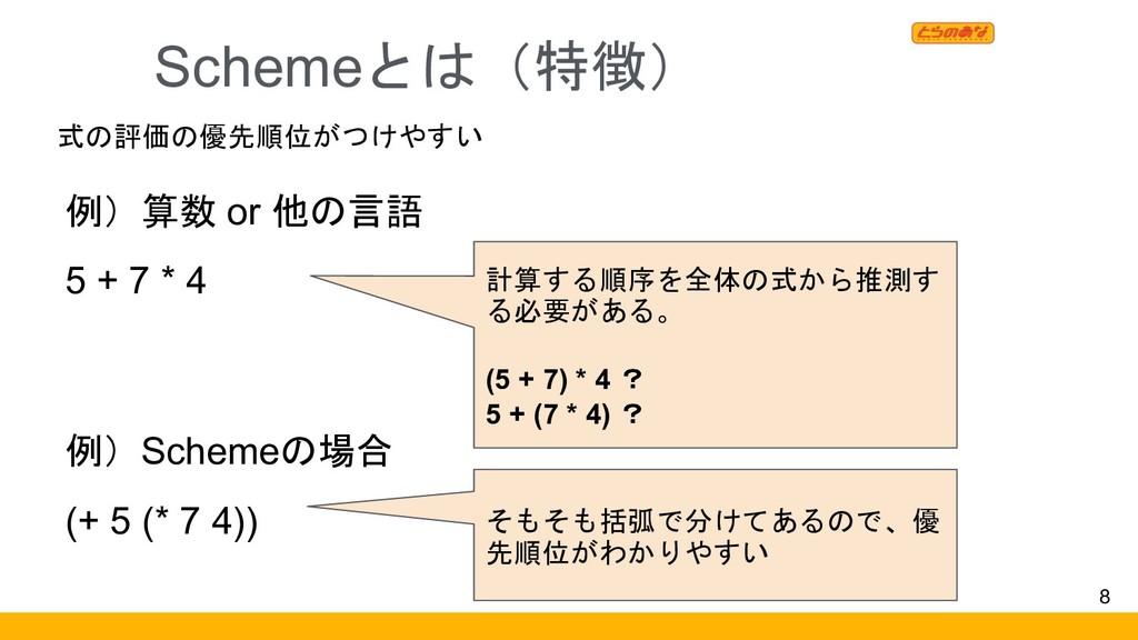 Schemeとは(特徴) 8 例)算数 or 他の言語 5 + 7 * 4 計算する順序を全体...