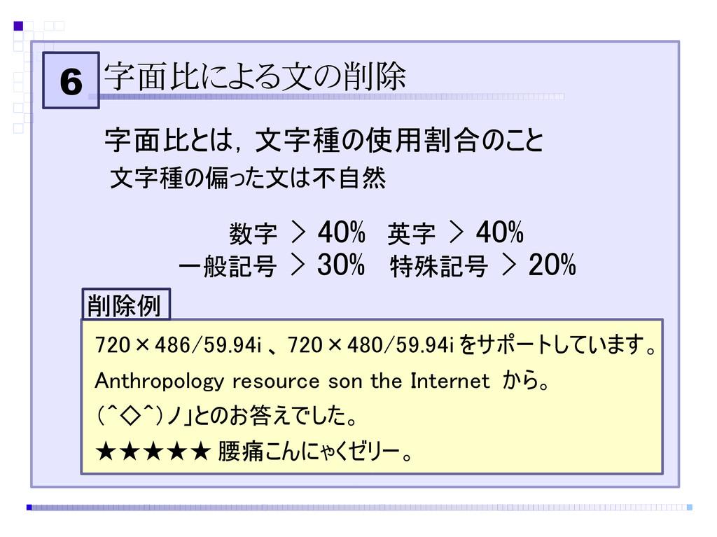 6 字面比による文の削除 字面比とは,文字種の使用割合のこと 720×486/59.94i 、...