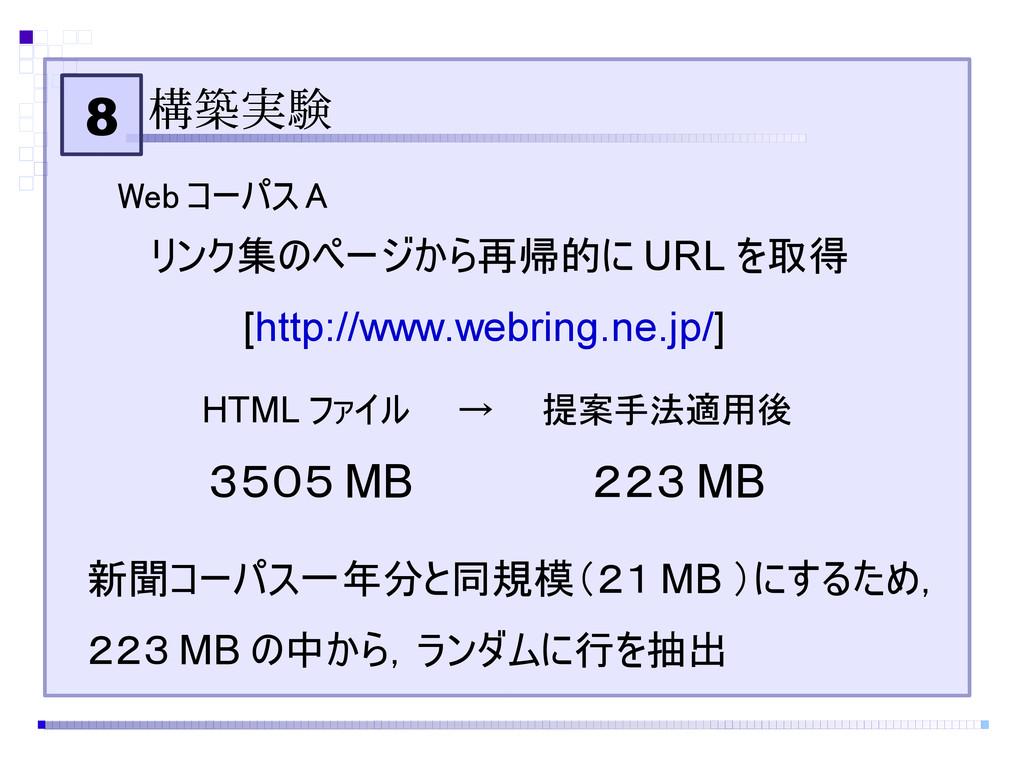 8 構築実験 Web コーパス A リンク集のページから再帰的に URL を取得 [http:...