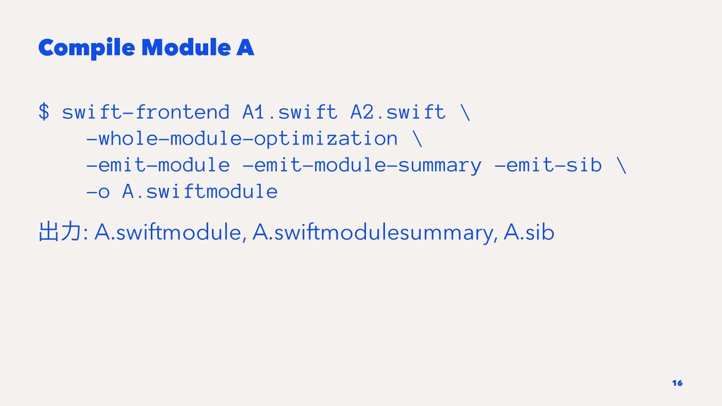 Compile Module A $ swift-frontend A1.swift A2.s...