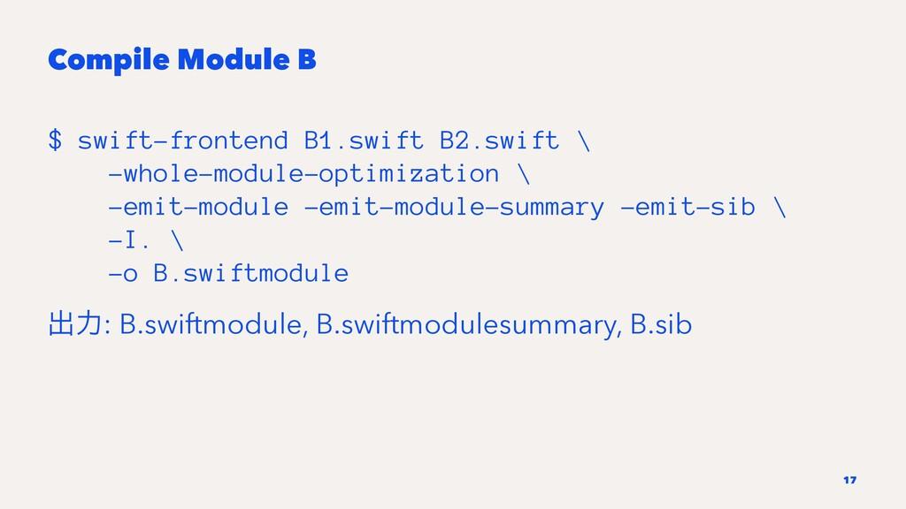 Compile Module B $ swift-frontend B1.swift B2.s...