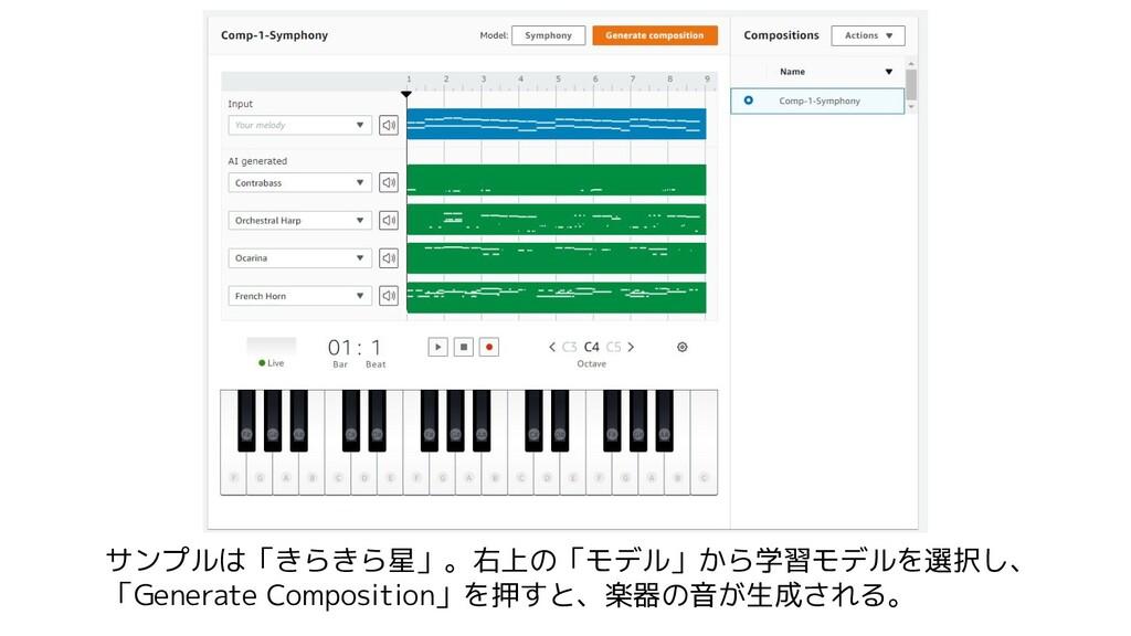 サンプルは「きらきら星」。右上の「モデル」から学習モデルを選択し、 「Generate Com...