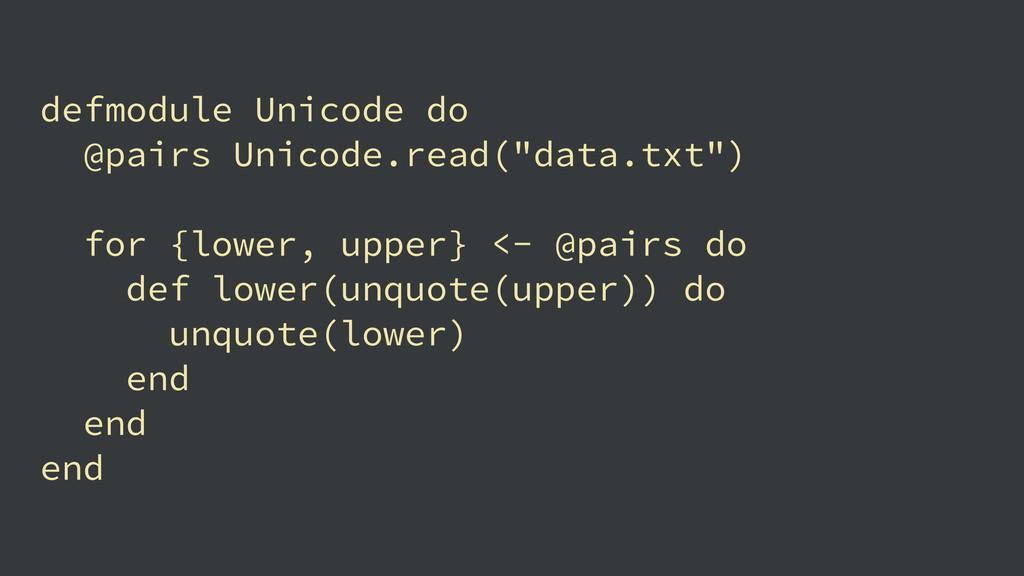"""defmodule Unicode do @pairs Unicode.read(""""data...."""