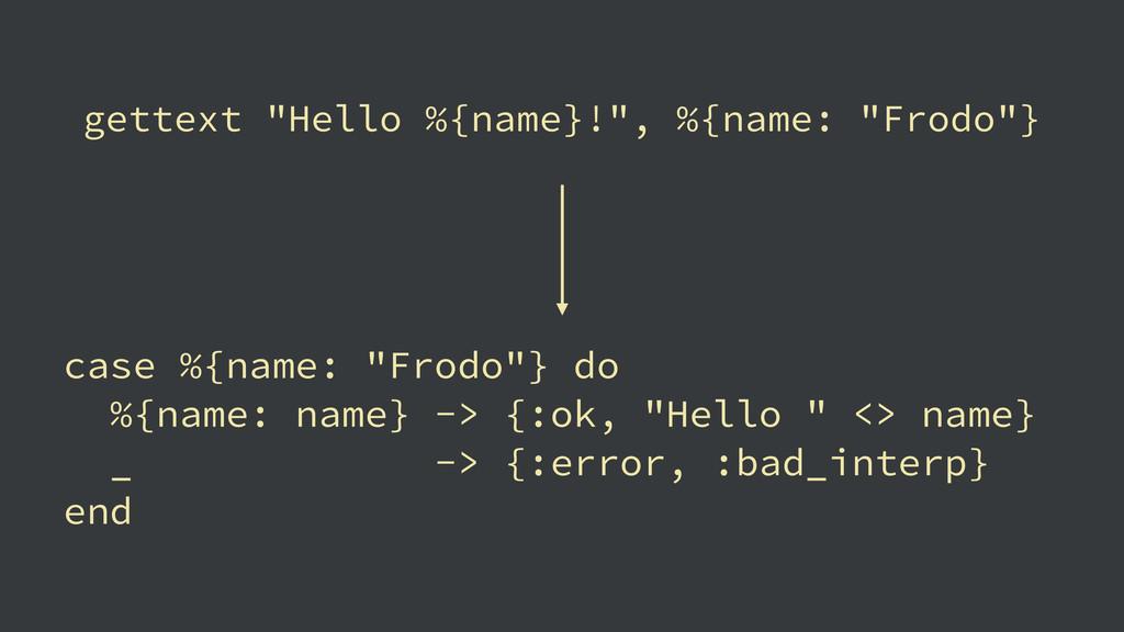 """gettext """"Hello %{name}!"""", %{name: """"Frodo""""} case..."""