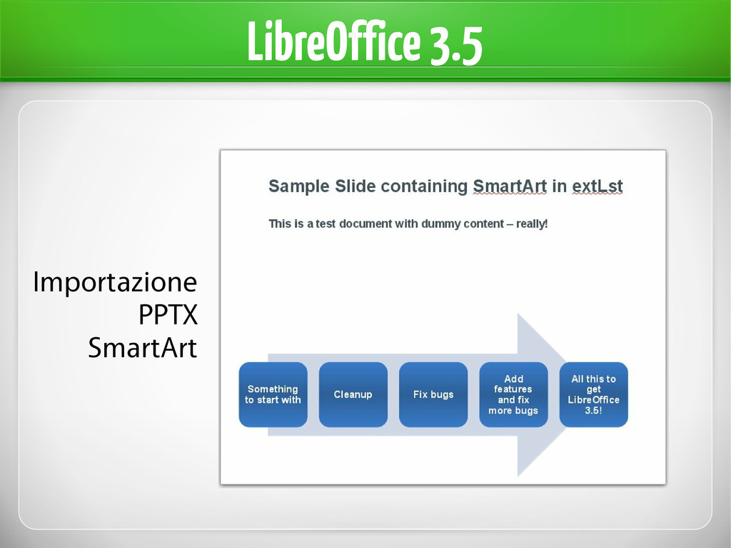 LibreOffice 3.5 Importazione PPTX SmartArt