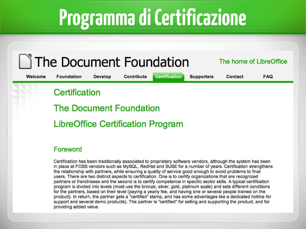 Programma di Certificazione