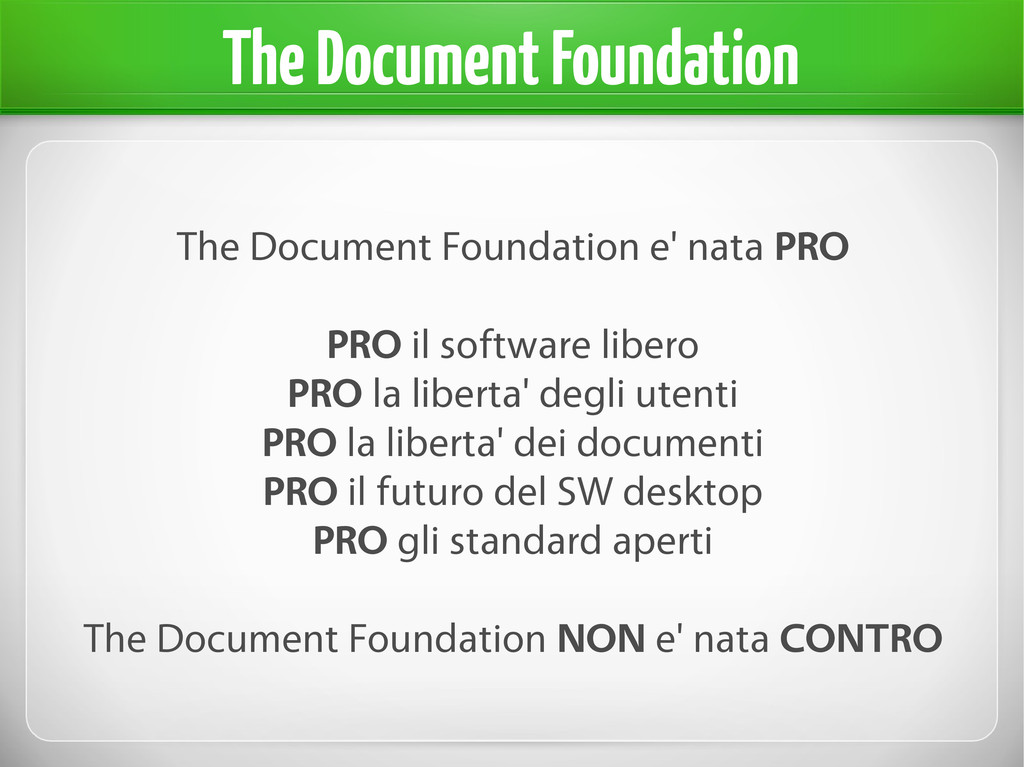 The Document Foundation e' nata PRO PRO il soft...