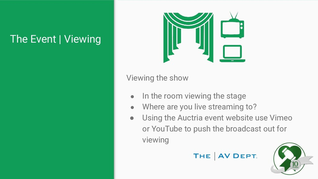 The Event   Viewing Viewing the show ● In the r...
