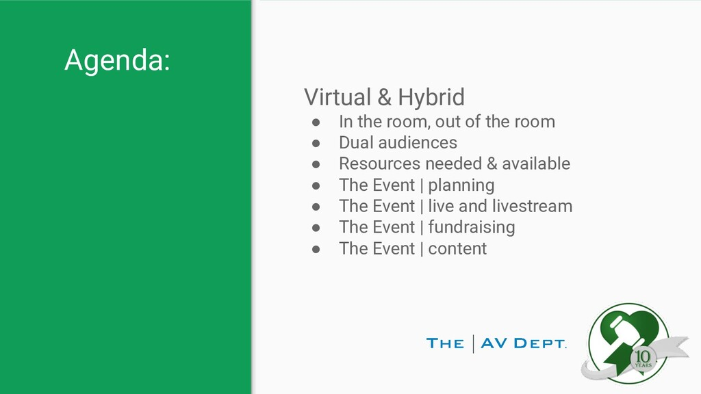 Agenda: Virtual & Hybrid ● In the room, out of ...
