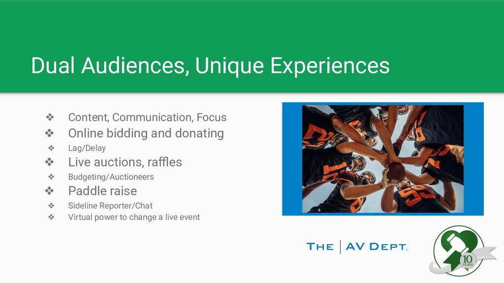 Dual Audiences, Unique Experiences ❖ Content, C...