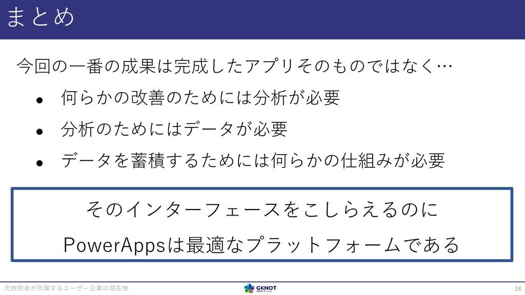 まとめ 元技術者が所属するユーザー企業の現在地 18 今回の一番の成果は完成したアプリそのもの...