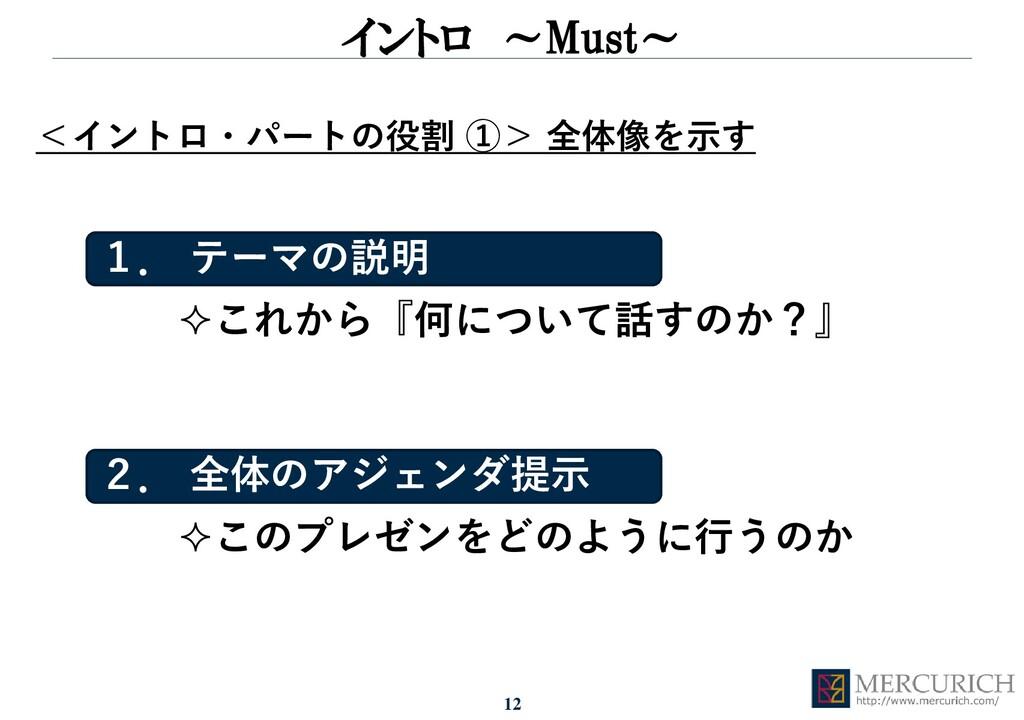 12 イントロ ~Must~ <イントロ・パートの役割 ①> 全体像を示す このプレゼンをど...