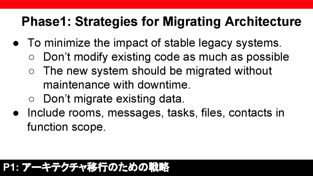 Phase1: Strategies for Migrating Architecture ●...