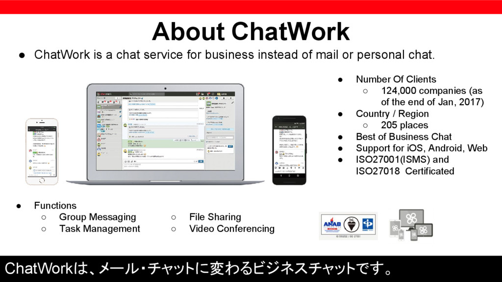 About ChatWork ● ChatWork is a chat service for...