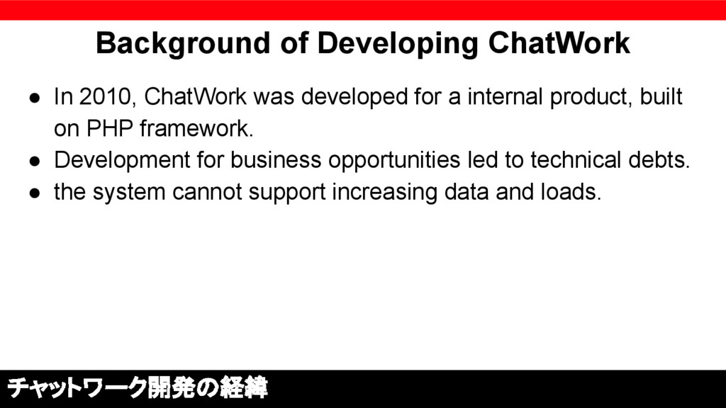 Background of Developing ChatWork ● In 2010, Ch...