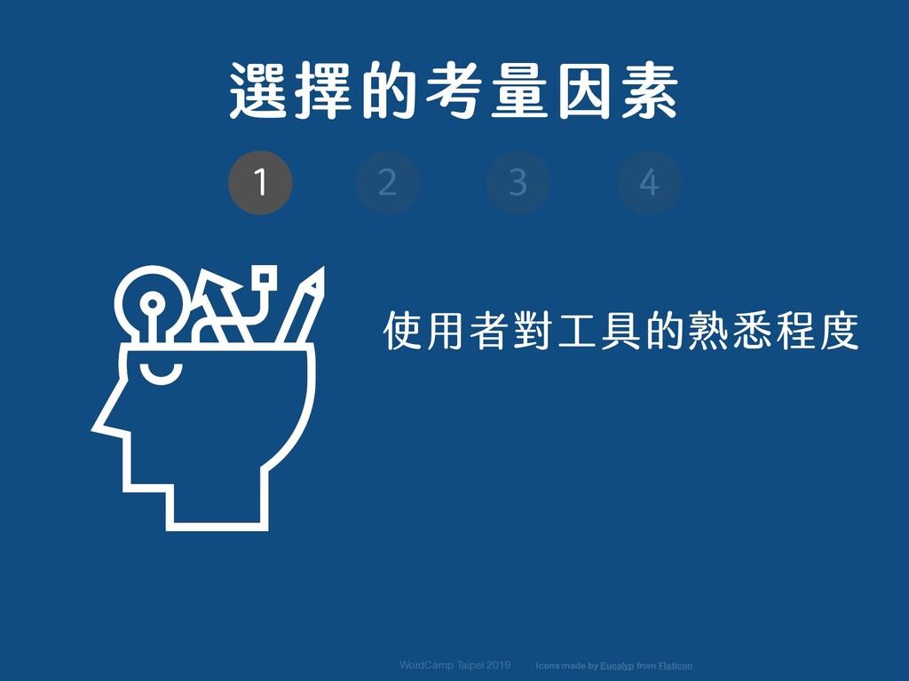選擇的考量因素 使用者對工具的熟悉程度 WordCamp Taipei 2019 1 2 3 ...