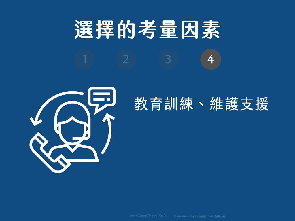 教育訓練、維護支援 WordCamp Taipei 2019 選擇的考量因素 1 2 3 4 ...