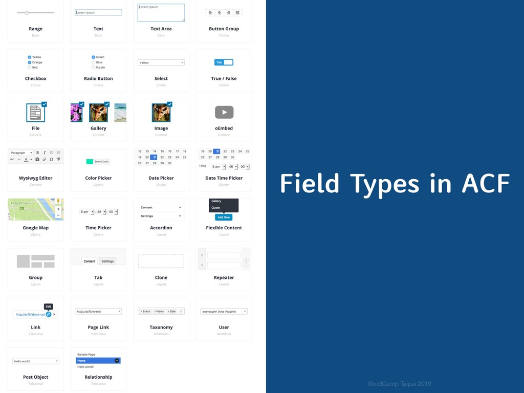Field Types in ACF WordCamp Taipei 2019