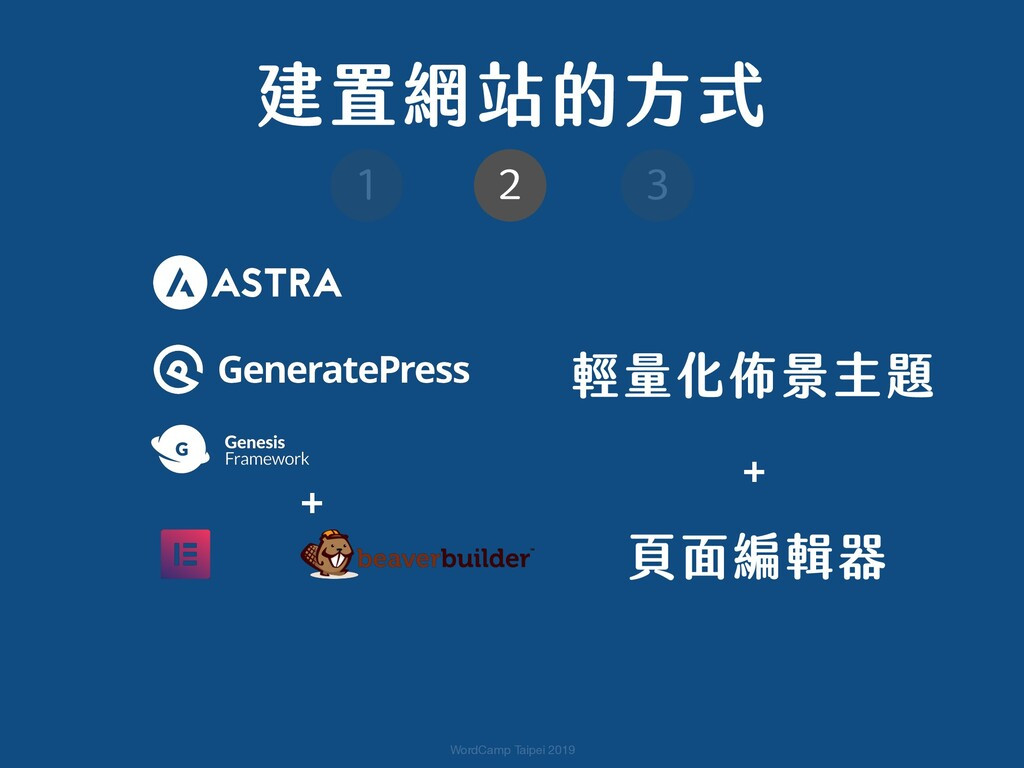 WordCamp Taipei 2019 輕量化佈景主題 + 頁面編輯器  + 建置網站的方...
