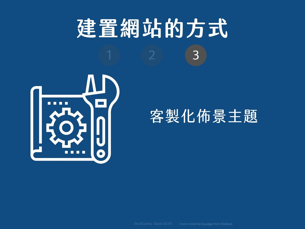 WordCamp Taipei 2019 客製化佈景主題 建置網站的方式 1 2 3 Icon...