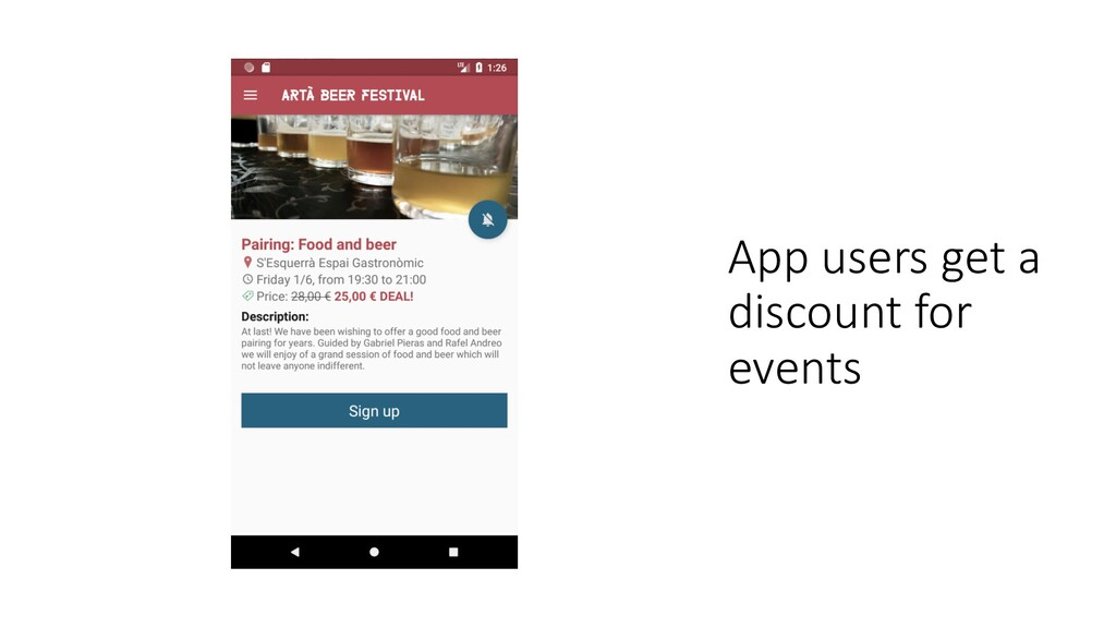 App users get a discount for events