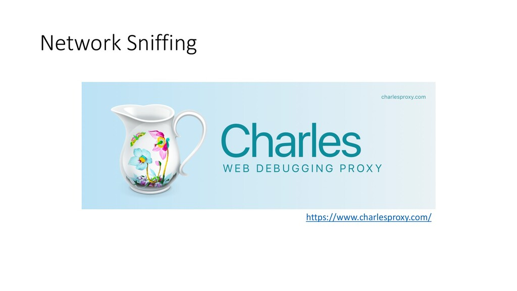 Network Sniffing https://www.charlesproxy.com/
