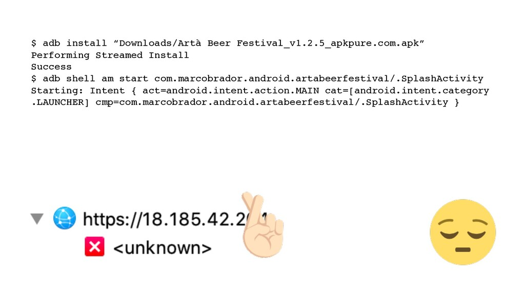 "$ adb install ""Downloads/Artà Beer Festival_v1...."