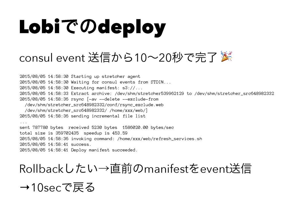 LobiͰͷdeploy consul event ૹ৴͔Β10ʙ20ඵͰྃ ! 2015/...