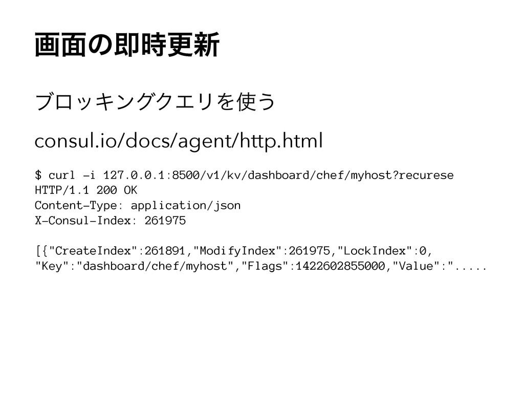 ը໘ͷଈߋ৽ ϒϩοΩϯάΫΤϦΛ͏ consul.io/docs/agent/http....