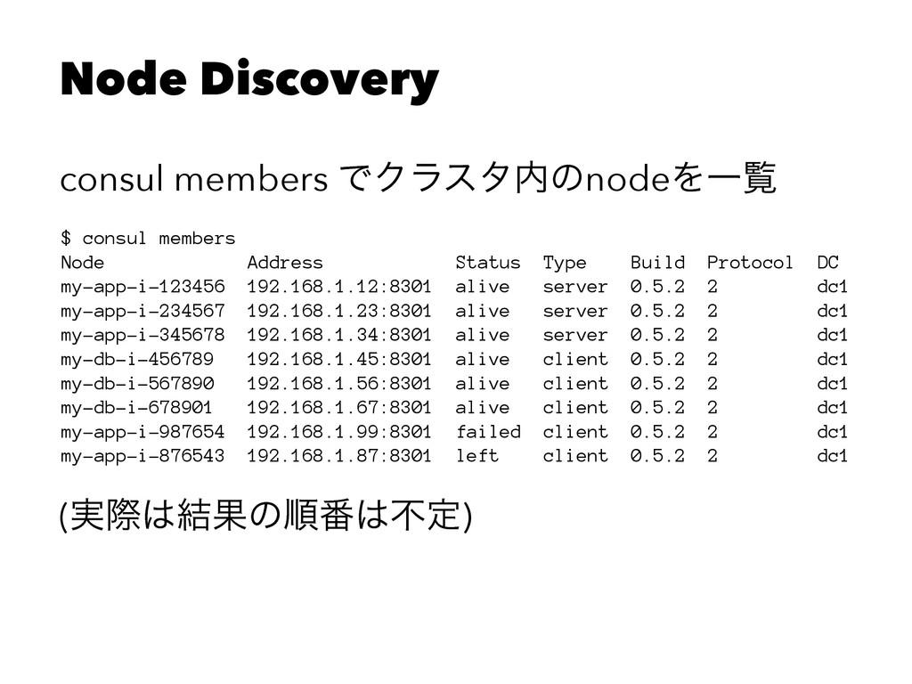 Node Discovery consul members ͰΫϥελͷnodeΛҰཡ $ ...