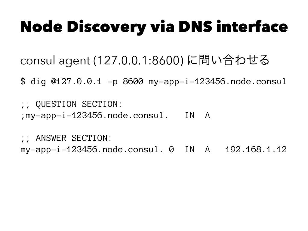 Node Discovery via DNS interface consul agent (...