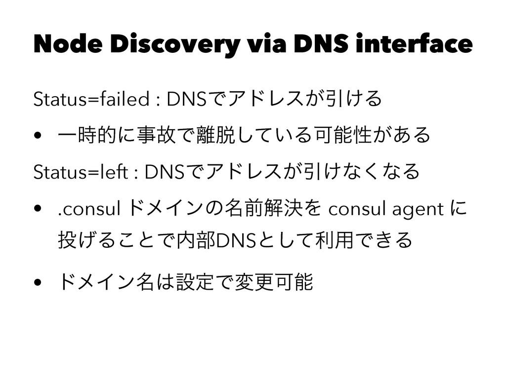 Node Discovery via DNS interface Status=failed ...