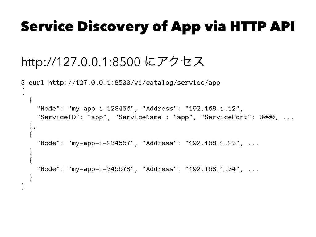 Service Discovery of App via HTTP API http://12...