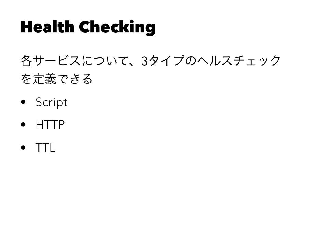 Health Checking ֤αʔϏεʹ͍ͭͯɺ3λΠϓͷϔϧενΣοΫ ΛఆٛͰ͖Δ •...
