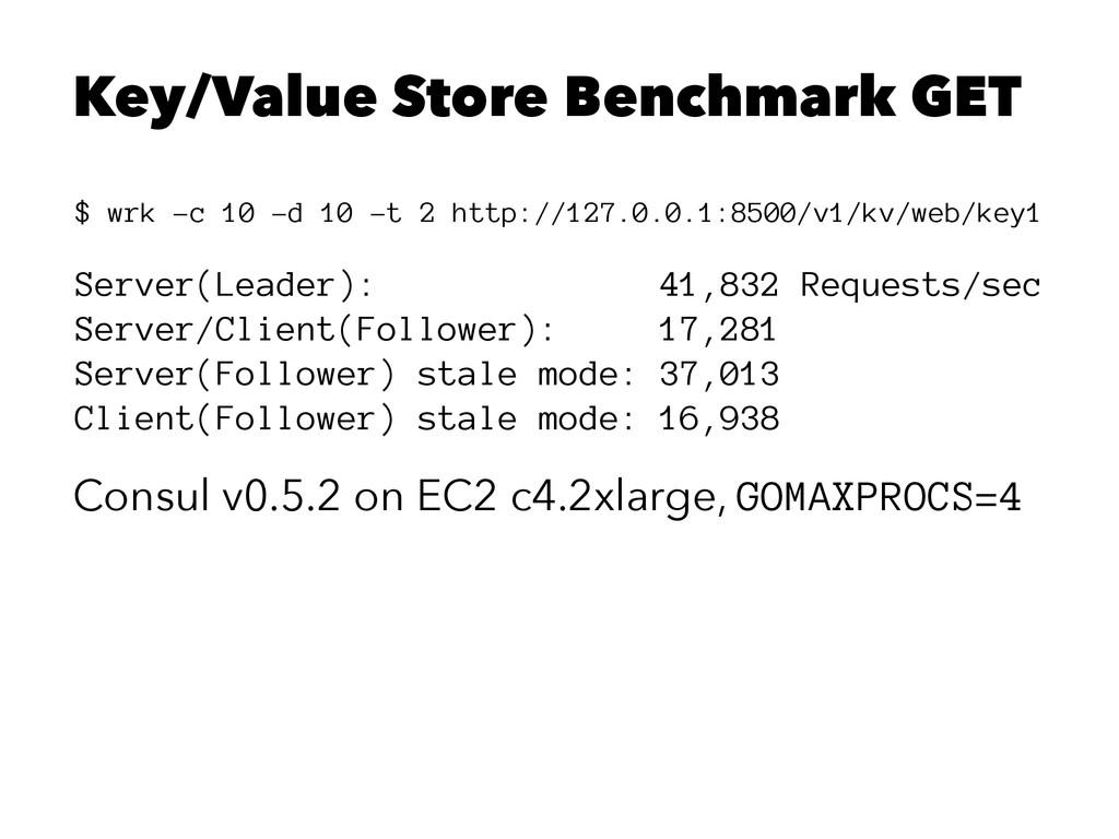 Key/Value Store Benchmark GET $ wrk -c 10 -d 10...