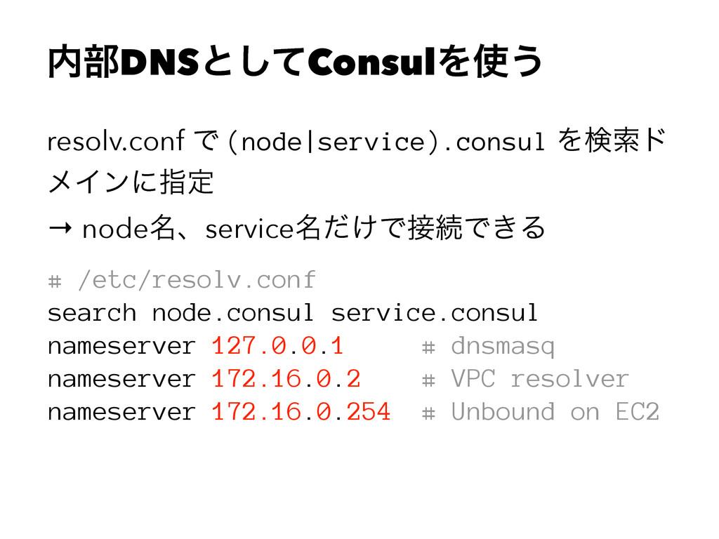 ෦DNSͱͯ͠ConsulΛ͏ resolv.conf Ͱ (node|service)....