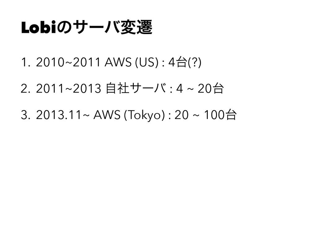 Lobiͷαʔόมભ 1. 2010~2011 AWS (US) : 4(?) 2. 201...
