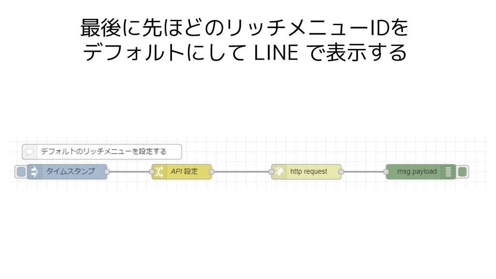 最後に先ほどのリッチメニューIDを デフォルトにして LINE で表示する