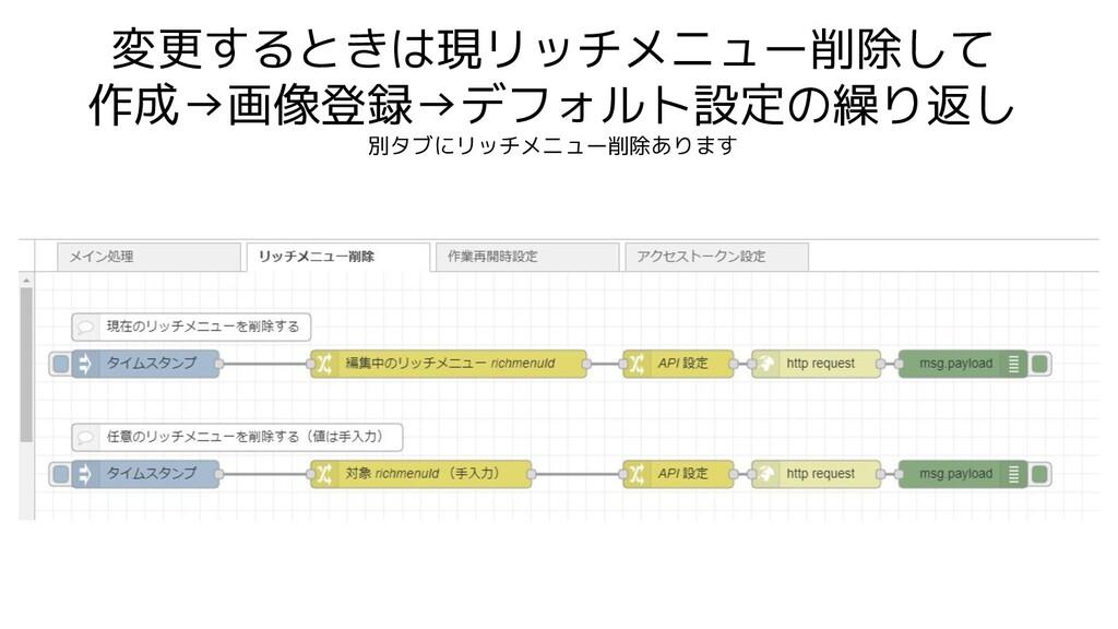 変更するときは現リッチメニュー削除して 作成→画像登録→デフォルト設定の繰り返し 別タブにリッ...