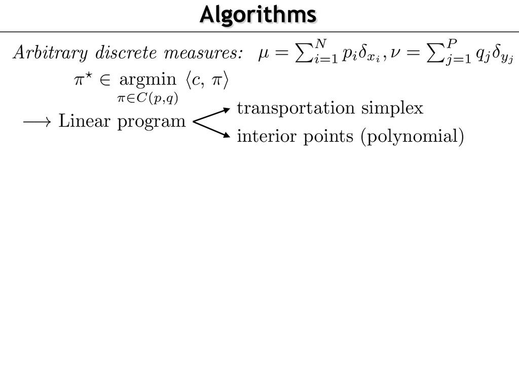 Algorithms Arbitrary discrete measures: ⇡? 2 ar...