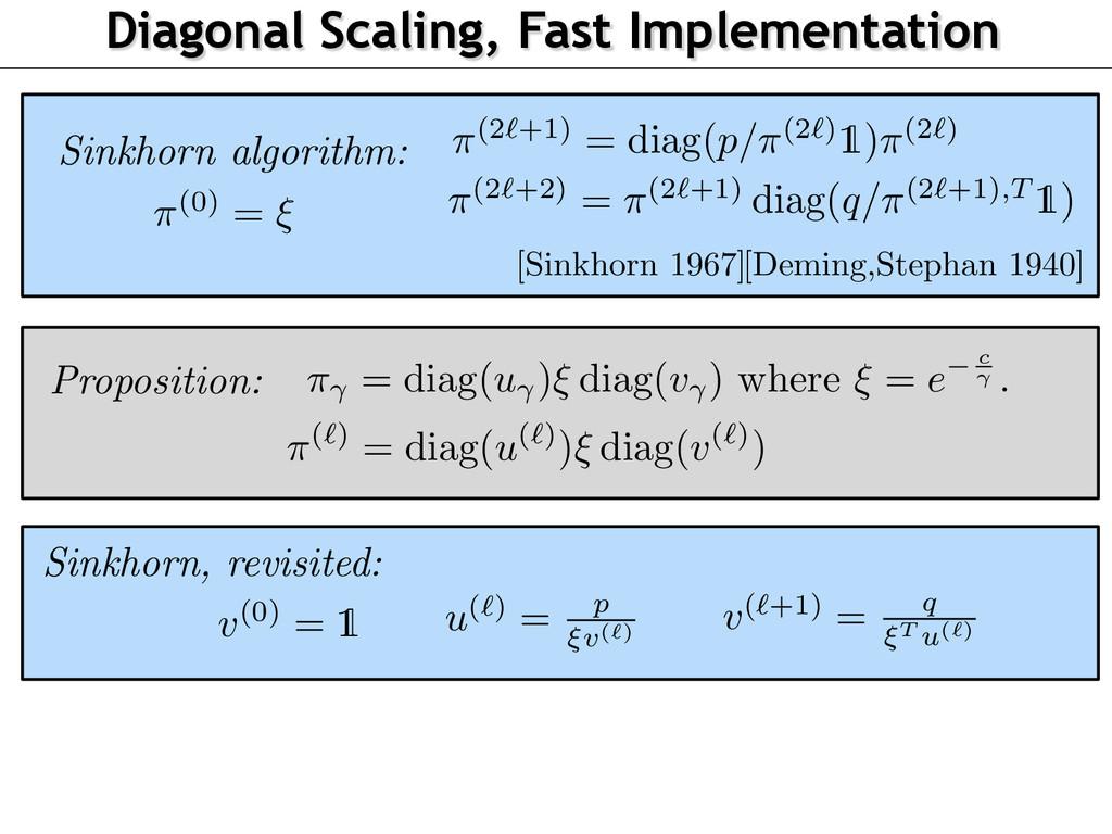 Diagonal Scaling, Fast Implementation Sinkhorn ...